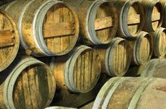 Wine barrels. Rows of oak barrels in a wine cellar Royalty Free Stock Photography