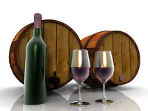 The wine and barrels. The wine and the wooden barrels, the work of the wine grower Stock Photography