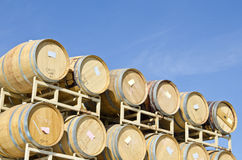 Wine Barrels Against the Deep Blue Sky Royalty Free Stock Photography