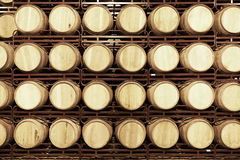 Wine barrels in an aging cellar Royalty Free Stock Photos