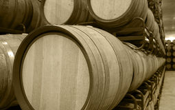 Wine barrels in an aging cellar Stock Images