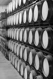 Wine barrels in an aging cellar Stock Photos
