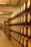Wine barrels in an aging cellar Stock Photos