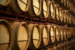 Wine barrels in an aging process Stock Photos