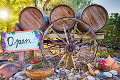 Wine Barrels And Open Sign In Front Of A New Mexico Winery Stock Photography