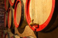 Wine barrels in the antique cellar. Cavernous wine Stock Image