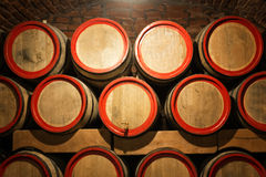 Wine barrels in the antique cellar. Cavernous wine Stock Photos
