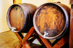 Wine barrels in a bar Stock Photos