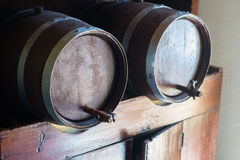 Wine barrels. Big barrels full of wine Royalty Free Stock Image
