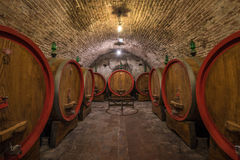 Wine barrels (botti) in a Montepulciano cellar, Tuscany Stock Images