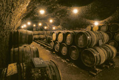 Wine barrels in cave. Wine barrels stacked on top of each other in cool, damp French wine cellar Stock Photos