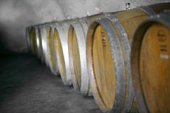 Wine Barrels in a cellar Royalty Free Stock Photo
