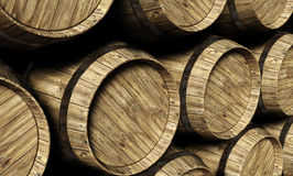 Wine barrels in a cellar Stock Images