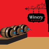 Wine barrels in a cellar Royalty Free Stock Image