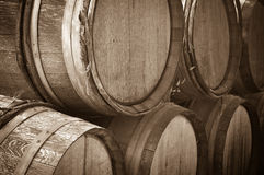 Wine Barrels in a Cellar Royalty Free Stock Photos