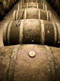 Wine barrels in cellar. Wide angle view Stock Photo