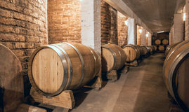 Wine barrels in Cellar of Malbec, Argentina Royalty Free Stock Photos