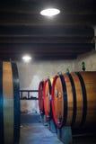 Wine Barrels in cellar Stock Images
