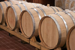 Wine Barrels in a Cellar Stock Photo