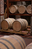Wine Barrels in a Cellar Stock Photography