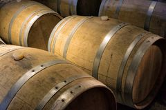 Wine barrels in the cellar Stock Photo