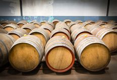 Wine barrels in the cellar of the winery Royalty Free Stock Photos