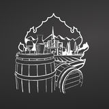 Wine on barrels. Chalk on blackboard. Hand drawn vineyard landscape. Countryside scenery. Black and White. Vintage style vector illustration Royalty Free Stock Image