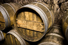 Wine barrels closeup Royalty Free Stock Photos