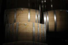 Wine barrels in a dark cavern Stock Image