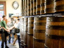 Wine barrels decorating a house. Typical wine barrels decorating a Spanish house Stock Photography