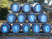 Wine Barrels in an Ice Wine Winery Stock Images