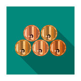 Wine barrels icon in flat style isolated on white background. Wine production symbol. Royalty Free Stock Photo