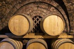 Free Wine Barrels In The Cellar, Szekszard, Hungary Royalty Free Stock Photo - 156053485