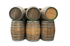 Wine barrels isolated Stock Photography