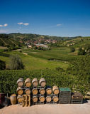 Wine barrels in Italy. Wine barrels in a winery; Langhe Roero, Italy with a beautiful blu sky Stock Images