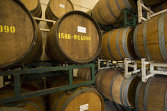 Wine Barrels In Old Cellar Stock Photos