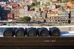 Wine barrels in Porto Stock Photography