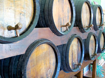 Wine barrels ready for tasting. Wine barrels, in a row,  ready for tasting Stock Photography