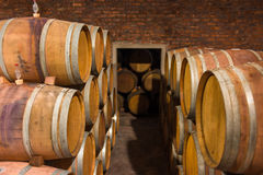 Wine barrels in rows Royalty Free Stock Photo