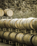 Wine barrels in sepia. Oak barrels stacked in front of a stone wall. Muted tones Stock Images
