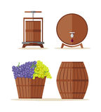 Wine barrels set. Basket with grape. Stock Image