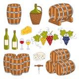 Wine barrels set, vector illustration Royalty Free Stock Image
