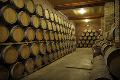 Wine Barrels. In a Spanish wine celler Royalty Free Stock Images