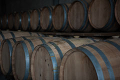 Wine barrels. Stacked in the cellar of the winery Stock Images