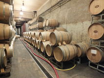 Wine barrels stacked in the cellar of the winery. Royalty Free Stock Images
