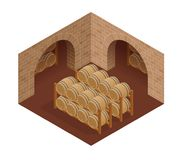 Wine barrels stacked in the old cellar of the winery. Isometric vector illustration Stock Photos