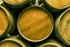 Wine barrels stacked. In the old cellar of the winery Royalty Free Stock Images