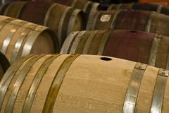 Wine Barrels In Storage Stock Photos