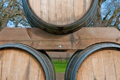 Wine Barrels with Vineyard in Background Stock Photography