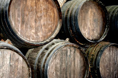 Wine barrels in a wine cellar. In lanzarote Stock Photography